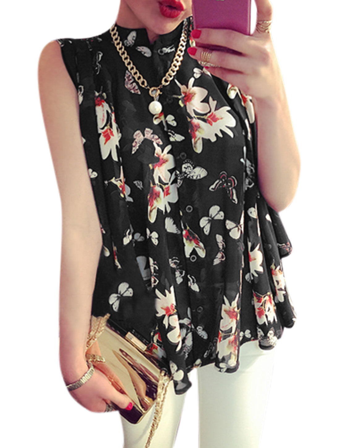 Woman Floral Prints Stand Collar Button Down Sleeveless Chiffon Blouse Black S