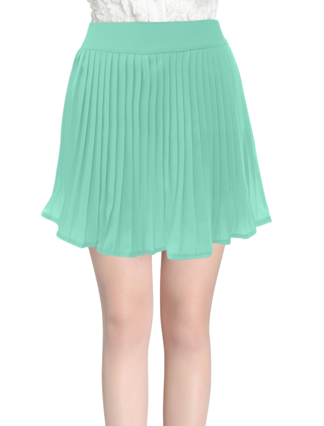 Women Mid Rise Elastic Waist Pleated Leisure Summer Skorts Mint XS