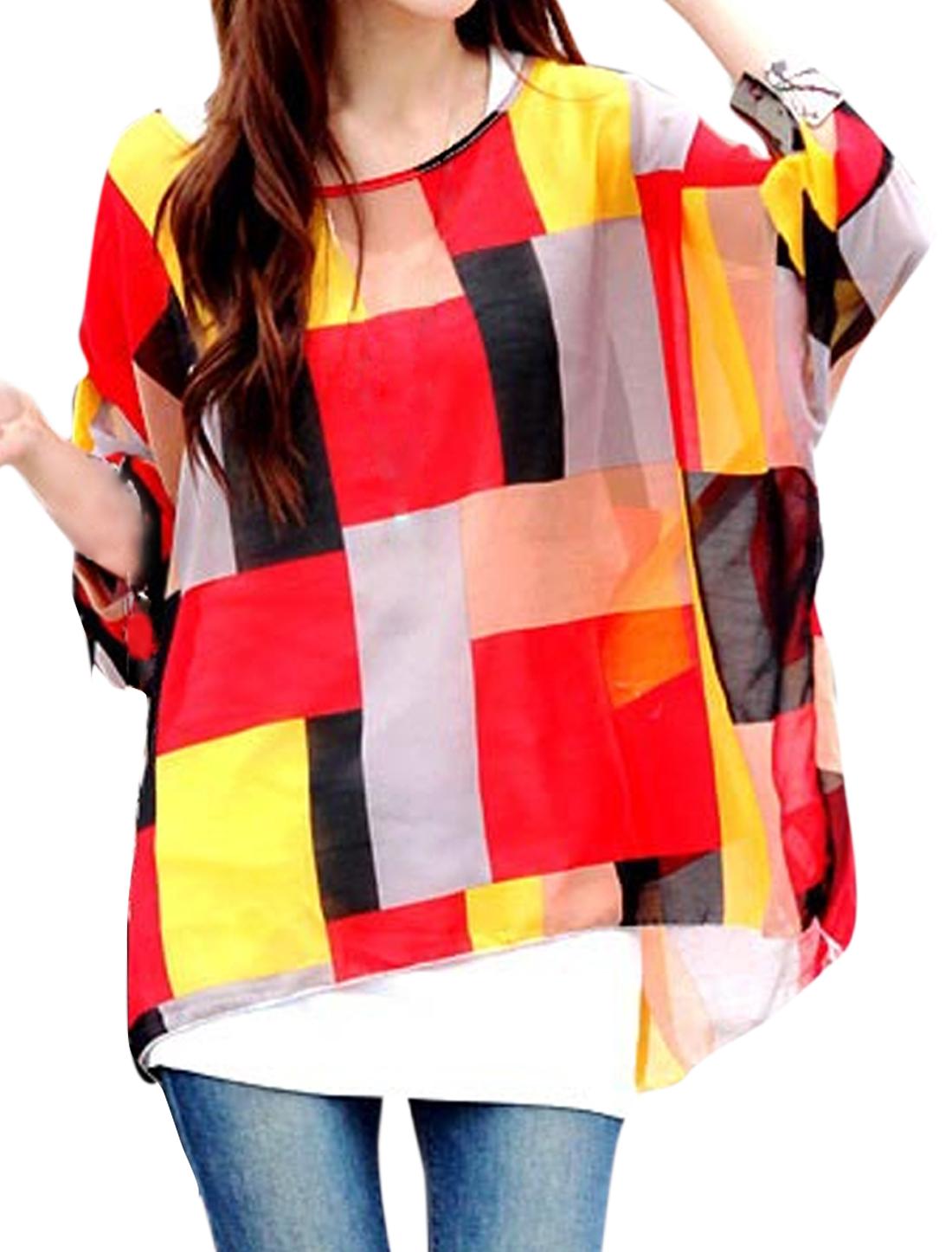 Women 3/4 Sleeve Round Neck Geometric Print High-Low Hem Blouse Red Yellow S