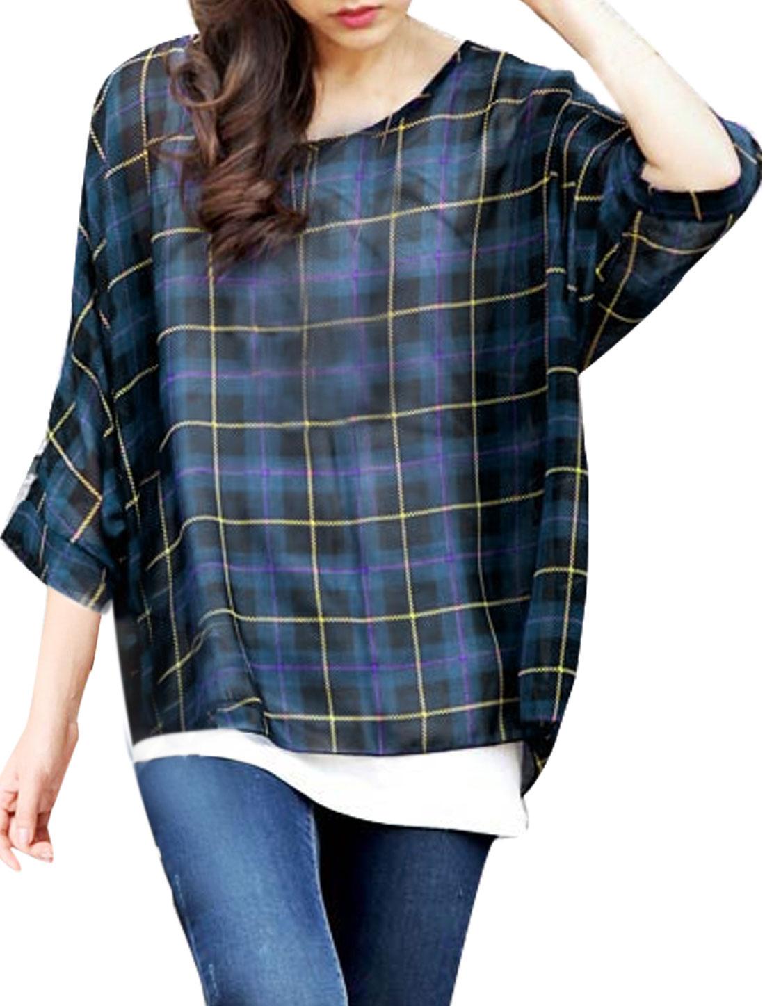 Ladies Batwing Sleeve Scoop Neck Check Print Semi Sheer Blouse Blue Purple S