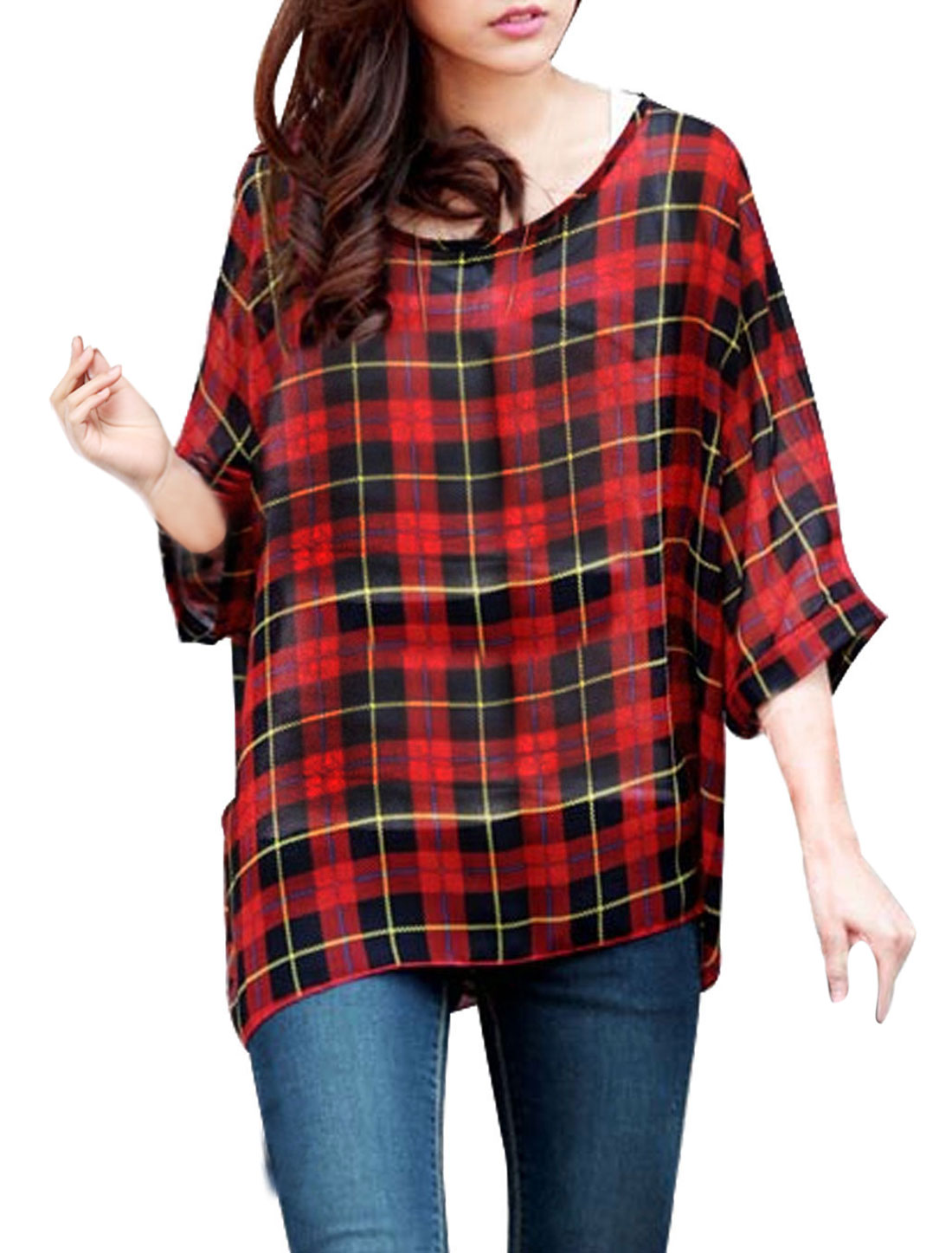 Women Batwing Sleeve Scoop Neck Check Print Semi Sheer Blouse Red Black S