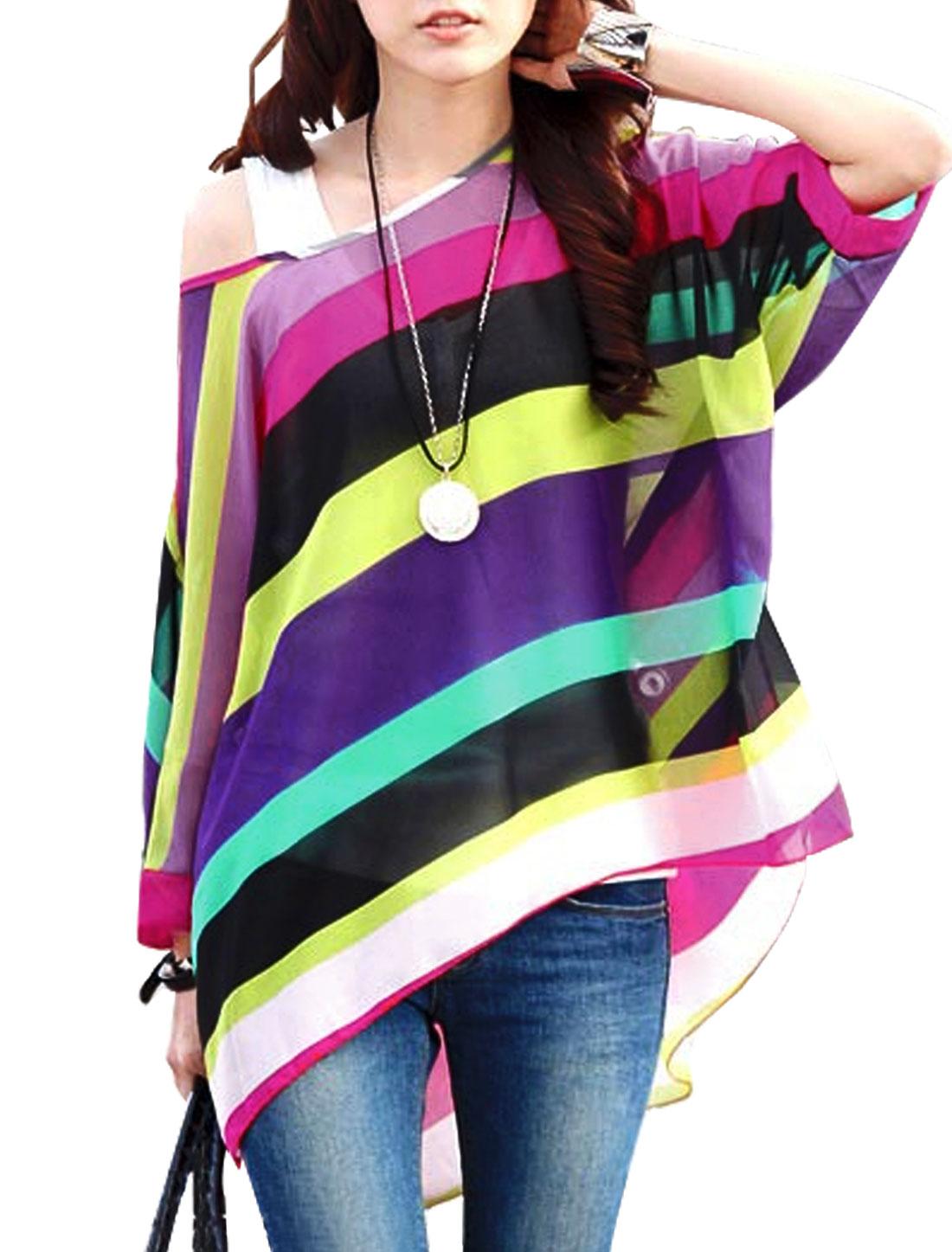 Women 3/4 Sleeve Round Neck Stripes Print Casual Blouses Black Purple S