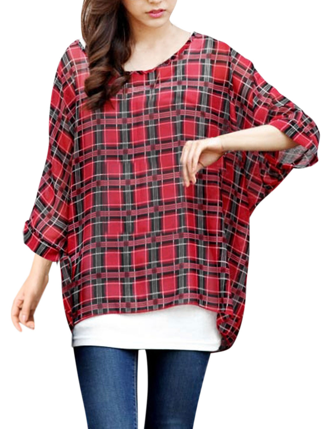 Women 3/4 Batwing Sleeves Checkered Pattern Loose Fit Casual Shirts Red S