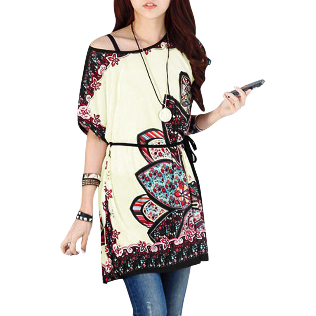 Women Round Neck Floral Prints Butterfly Sleeves Tunic Tops Red Beige S