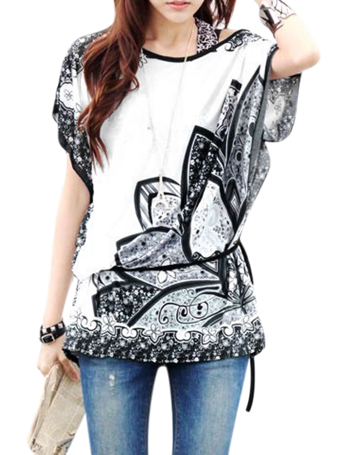 Women Butterfly Sleeve Floral Prints Casual Blouses White Dark Gray S