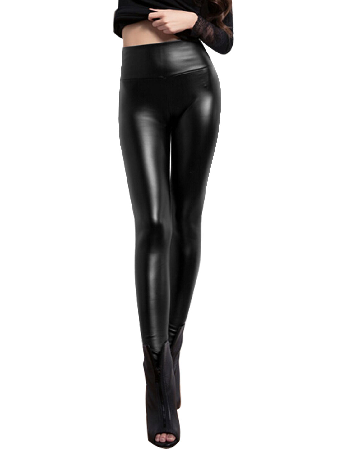 Women High Rise Wide Wasitband Skinny Imitation Leather Leggings Black XS