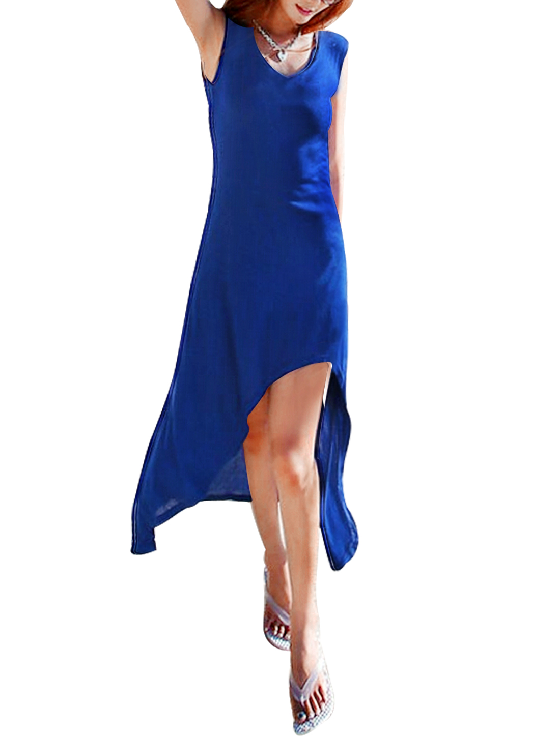 Women Sleeveless Scoop Neck Stretchy Beach Dress Royal Blue S