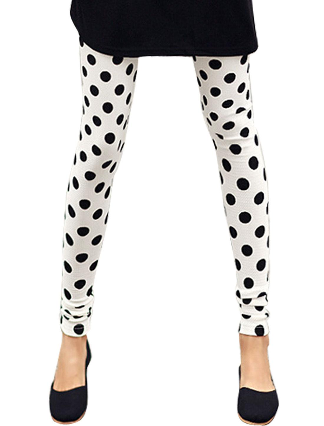 Woman Polka Dots Prints Elastic Waist Mid Rise Skinny Leggings White XS