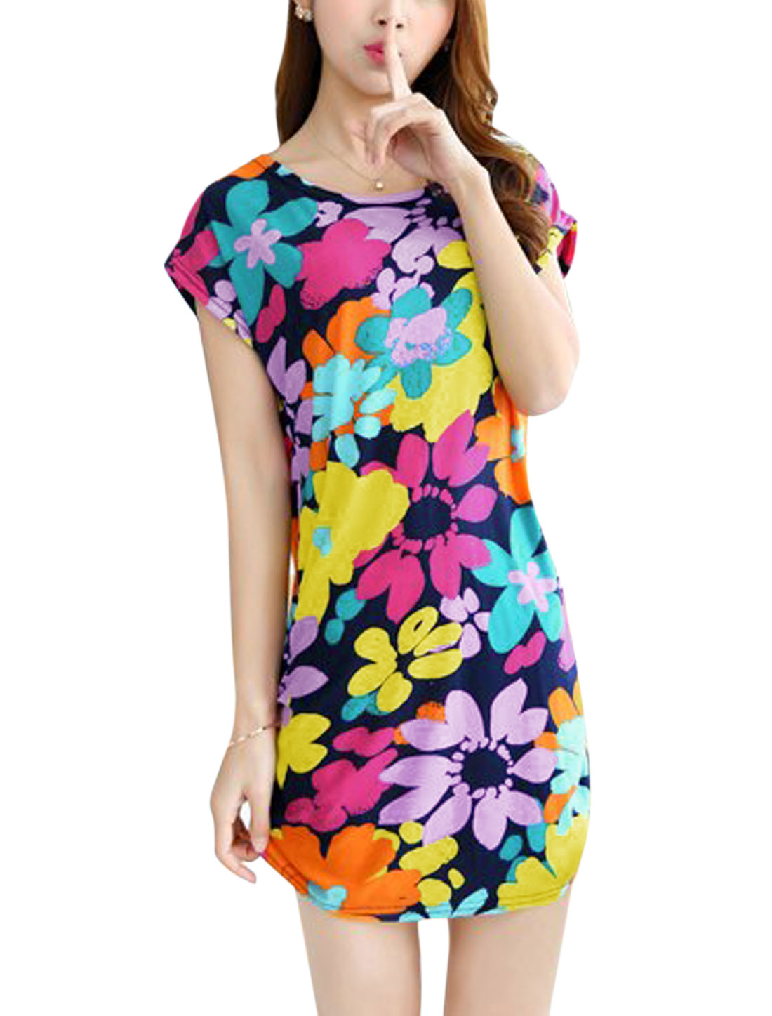 Women Raglan Sleeve Round Neck Floral Print Casual Dress Multicolor S