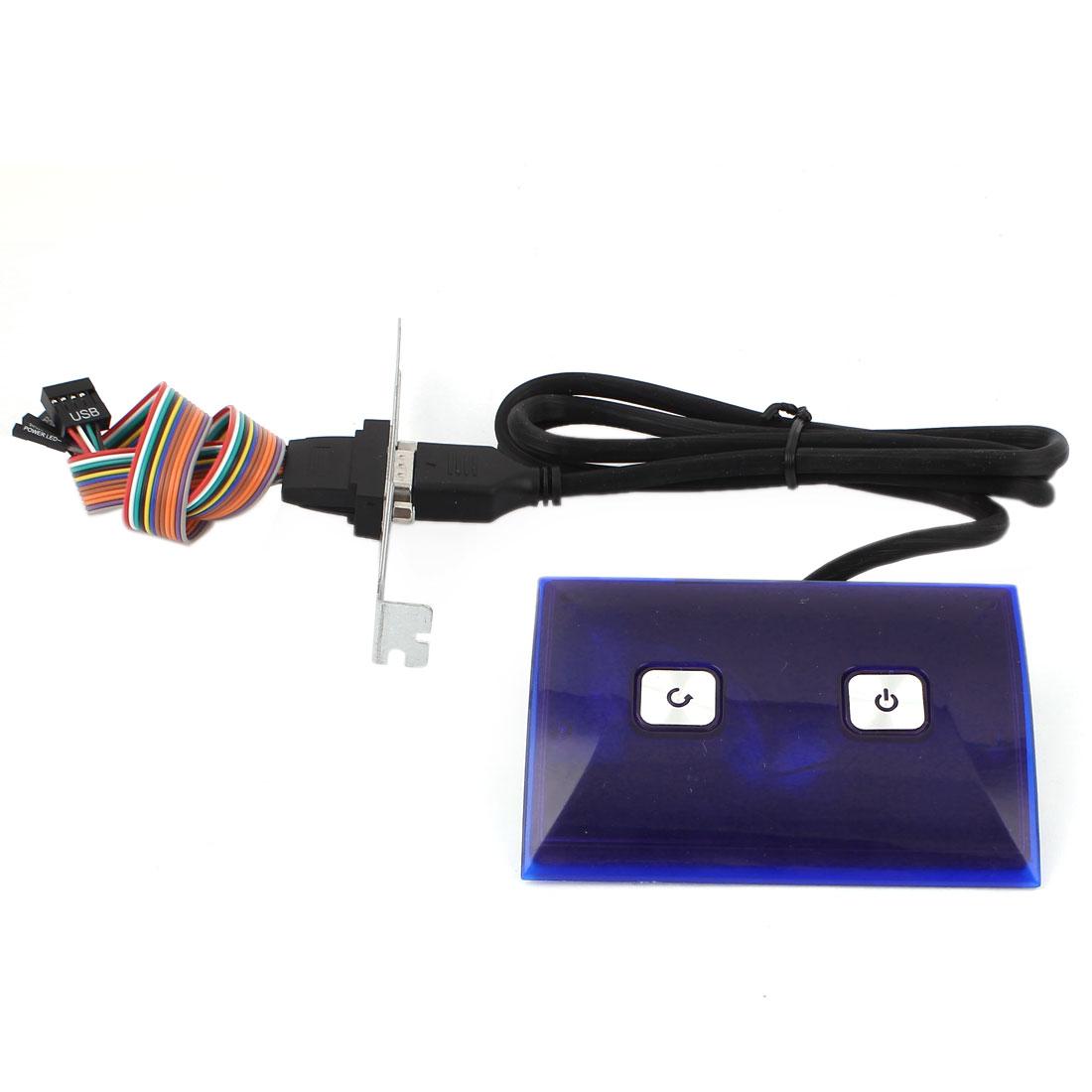 PC Computer Dual USB 2.0 Port Desktop Power Reset Button Switch Blue