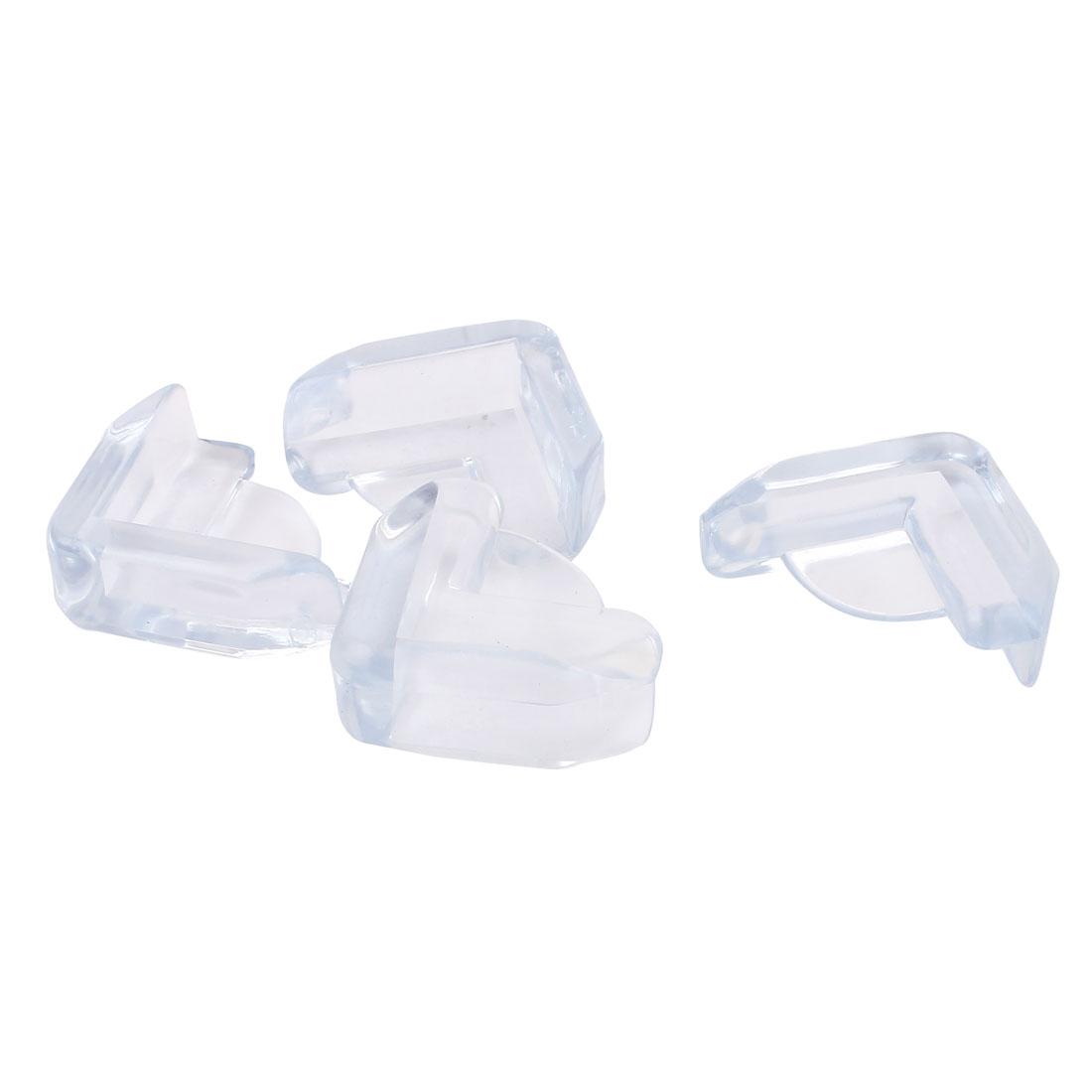 Clear Blue Plastic Triangle Desk Table Corner Cushion Safety Pad Mat 4 Pcs
