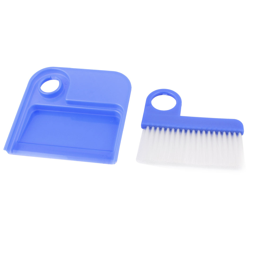 Mini Indoor Household Keyboard Desktop Desk Cleaning Dustpan w Brush Broom Set Blue