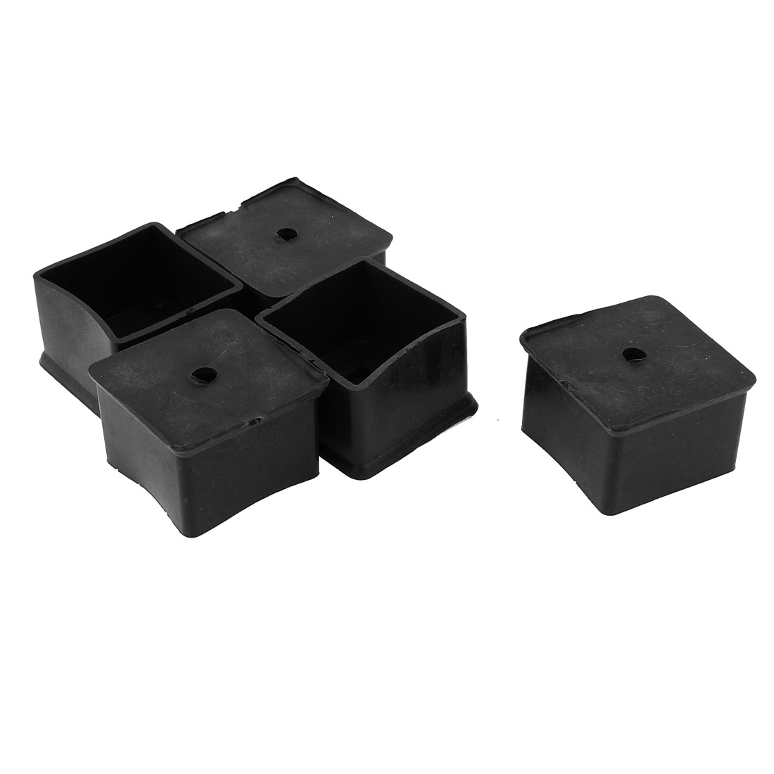 40mmx40mm Square Furniture Leg Protection Rubber Chair Feet Ferrules Black 5Pcs