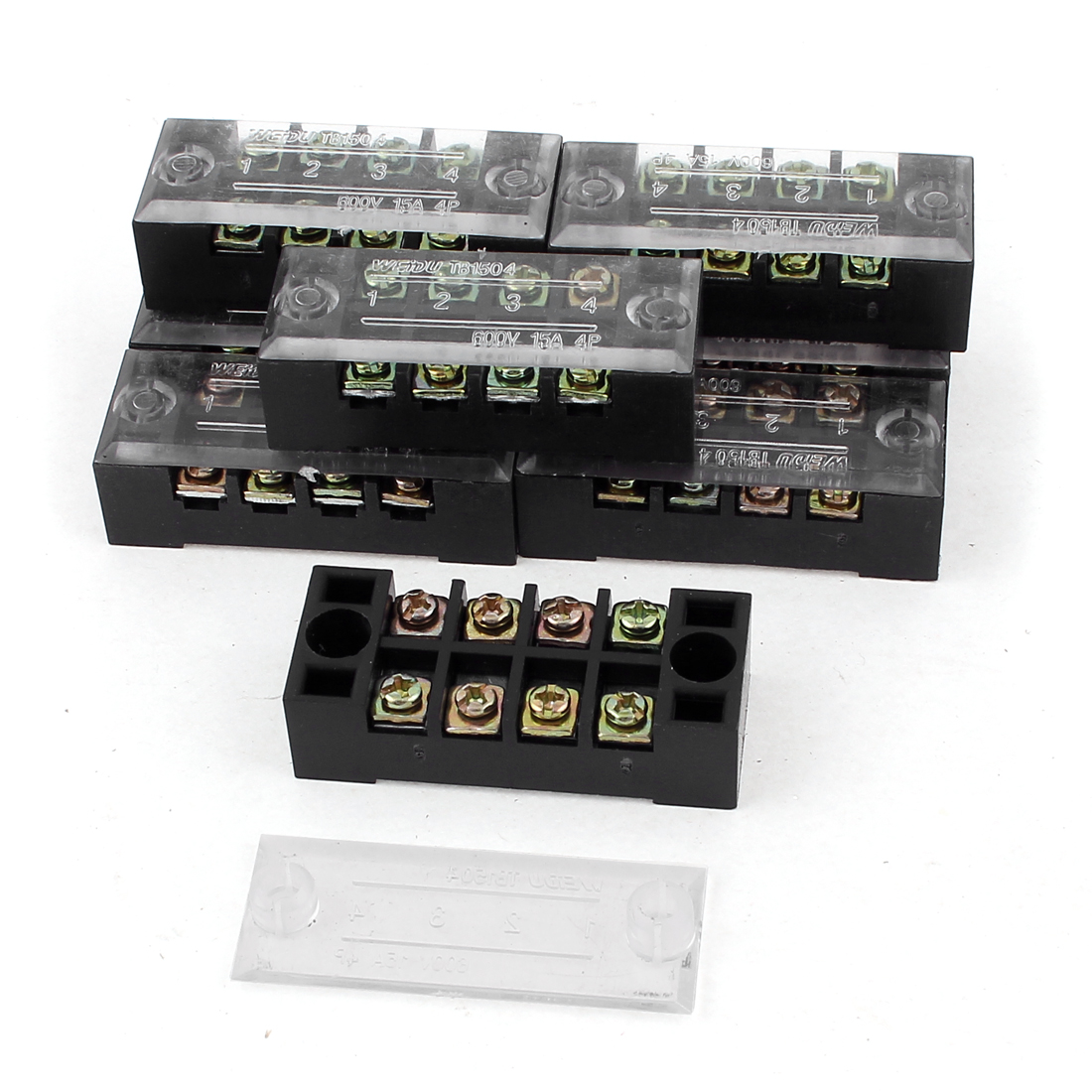 8Pcs 600V 15A 4 Positions Double Rows Covered Barrier Screw Terminal Block