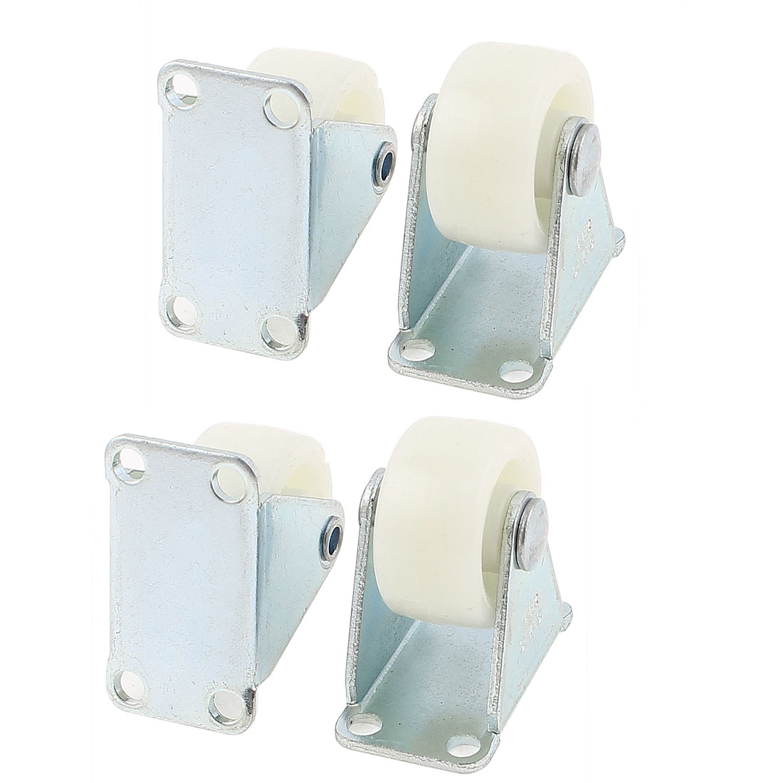 "4Pcs Shopping Carts 1"" Diameter Plastic Wheel Rectangle Mount Plate Swivel Caster"