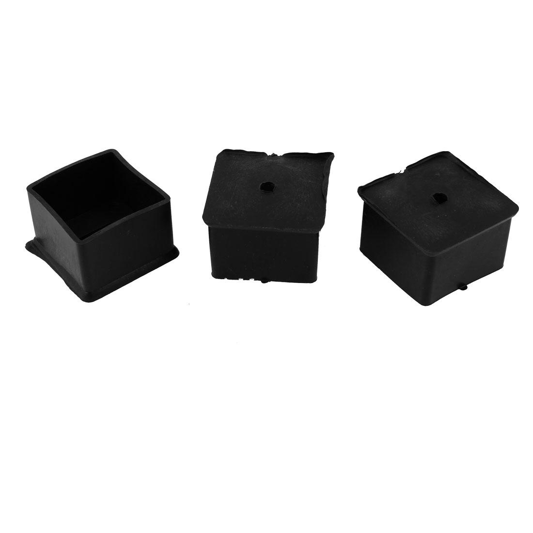 40mmx40mm Square Furniture Leg Protection Rubber Chair Feet Ferrules Black 3Pcs