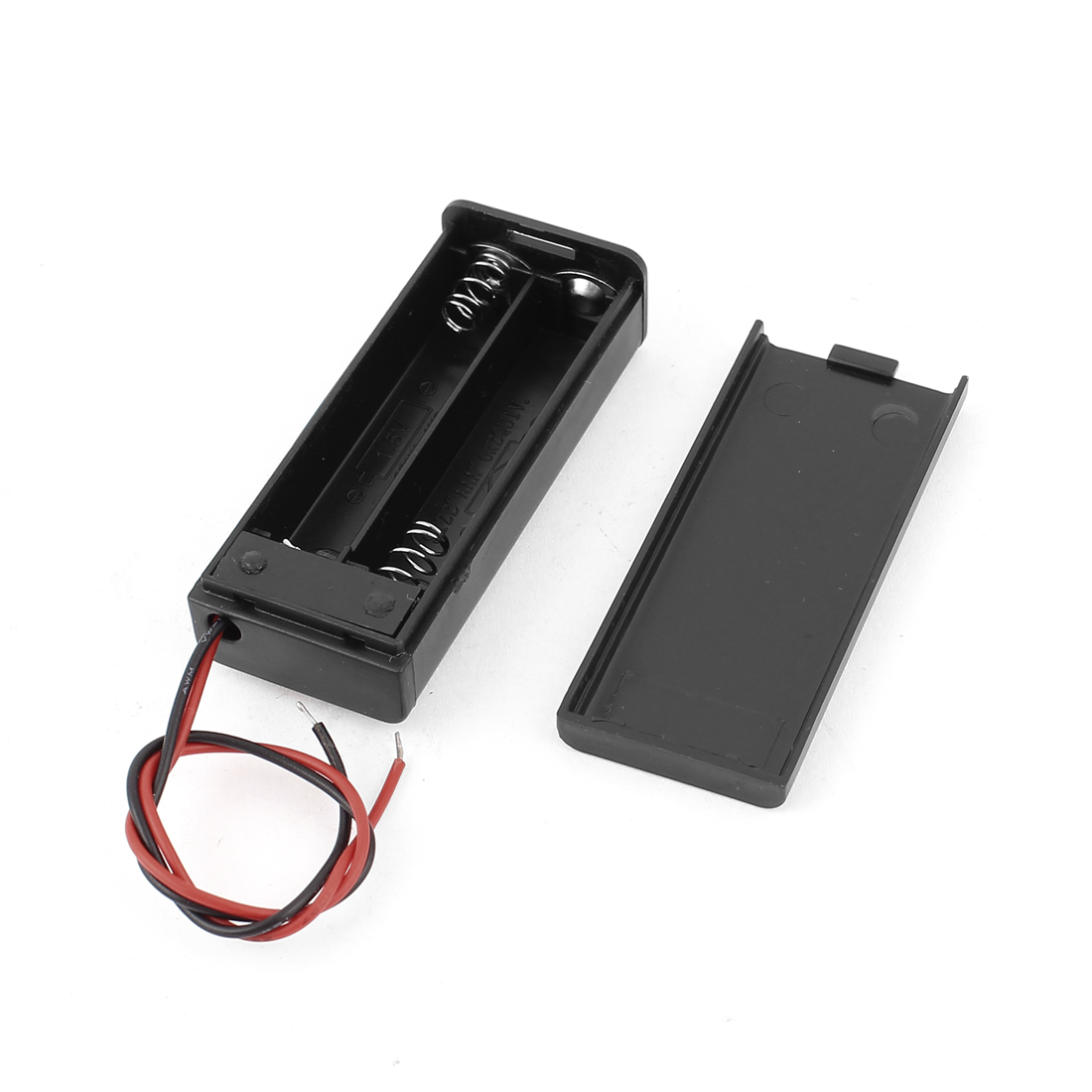 Plastic Batteries Holder Case Box ON/OFF Switch w Cover for 2 x 1.5V AAA Battery