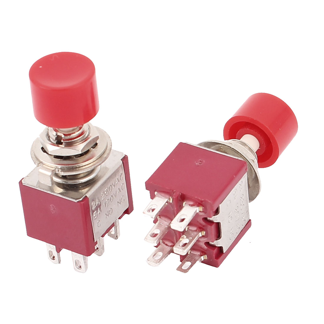 AC250V/2A dpdt on/off 6 terminals momentary push button switch 2pc