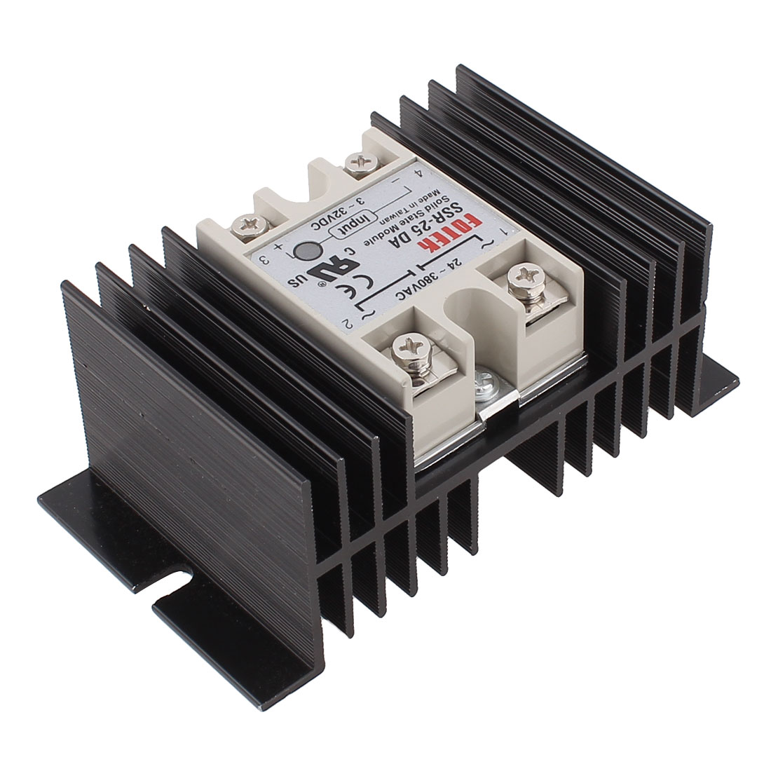 AC 24-380V to DC 3-32V SSR 25DA DC-AC Solid State Relay w Heat Sink