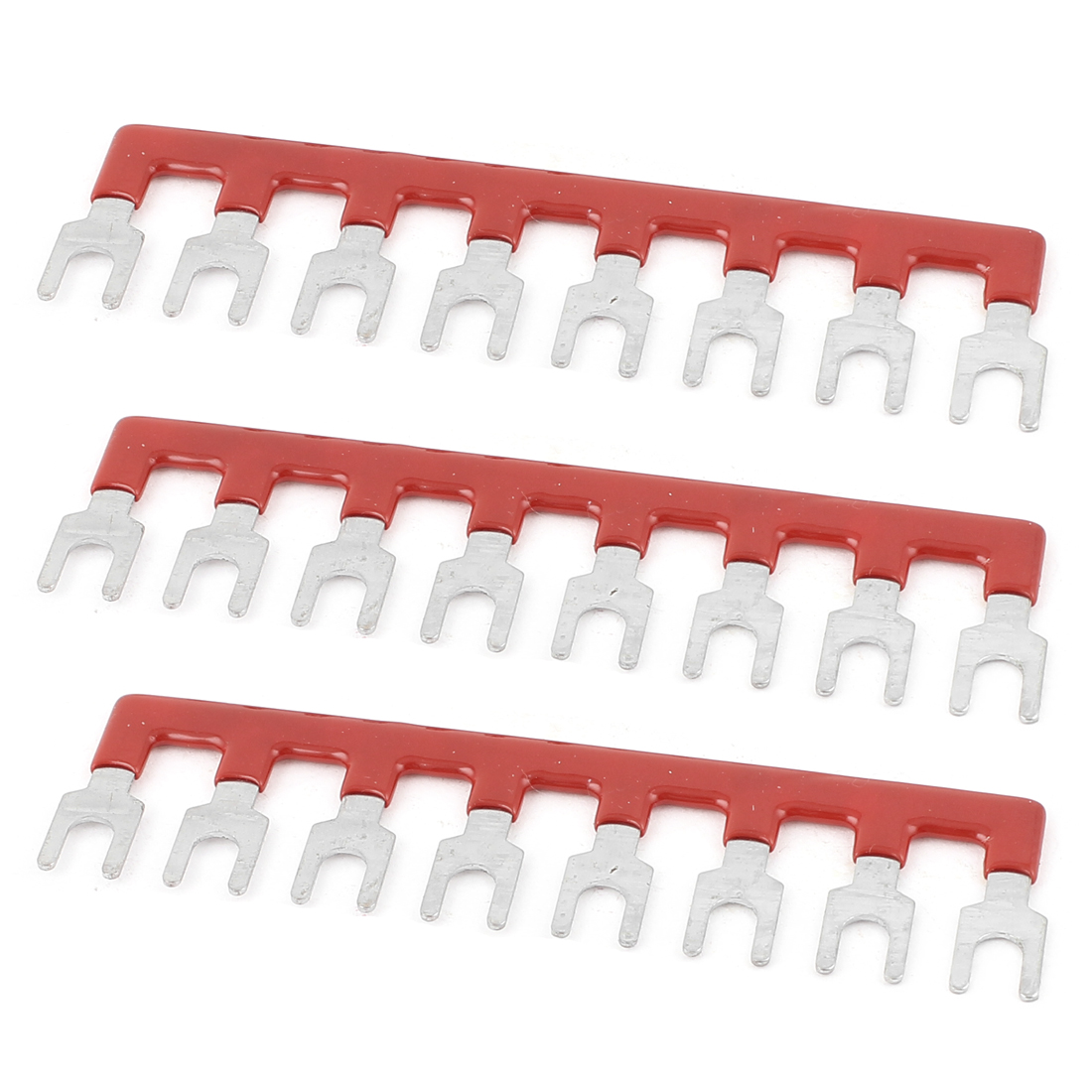 3 Pcs 8 Postions Pre Insulated Terminal Barrier Block Strip Red 600V 25A