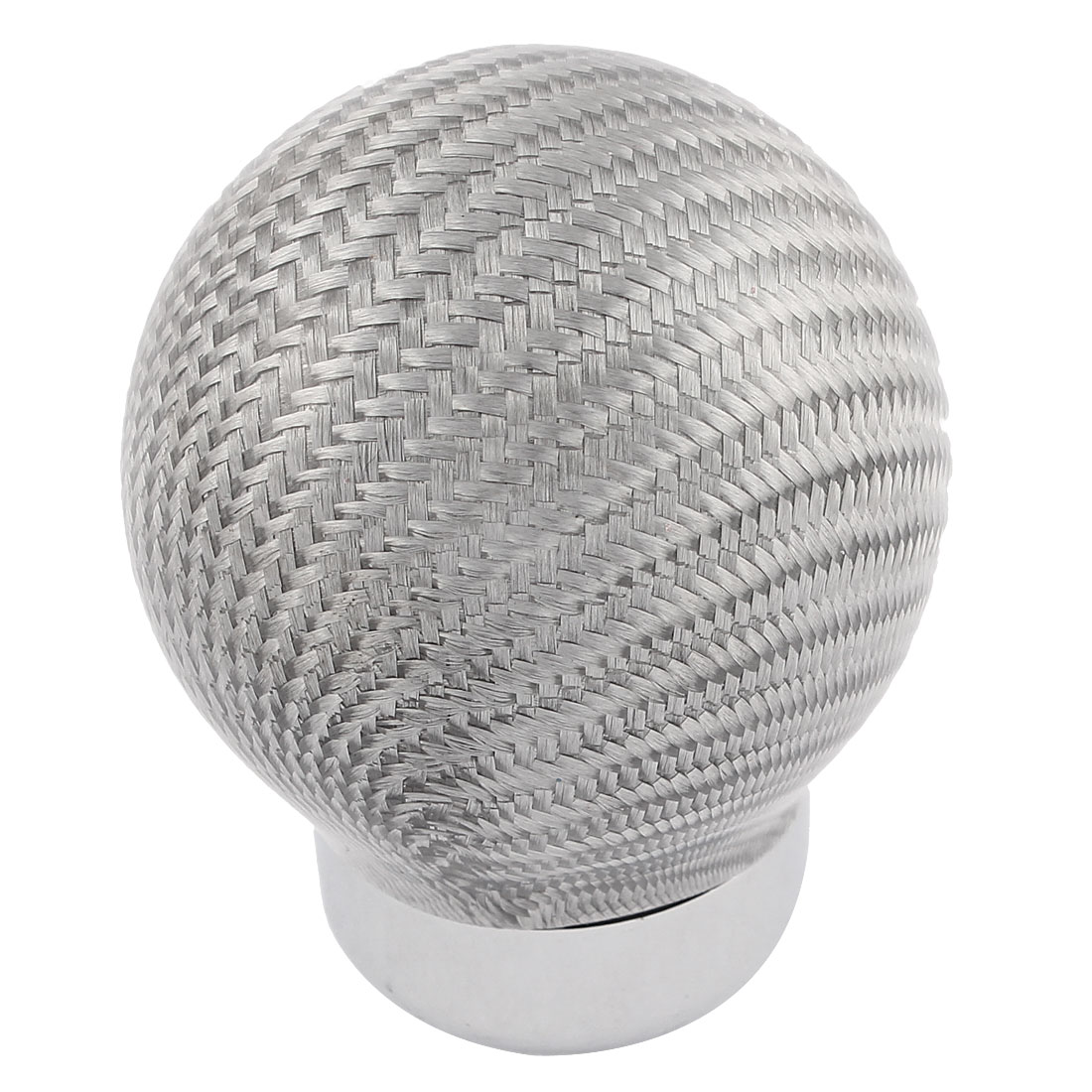 Silver Tone Carbon Fiber Round Ball Car Manual Gear Shift Shifter Knob w Adapters