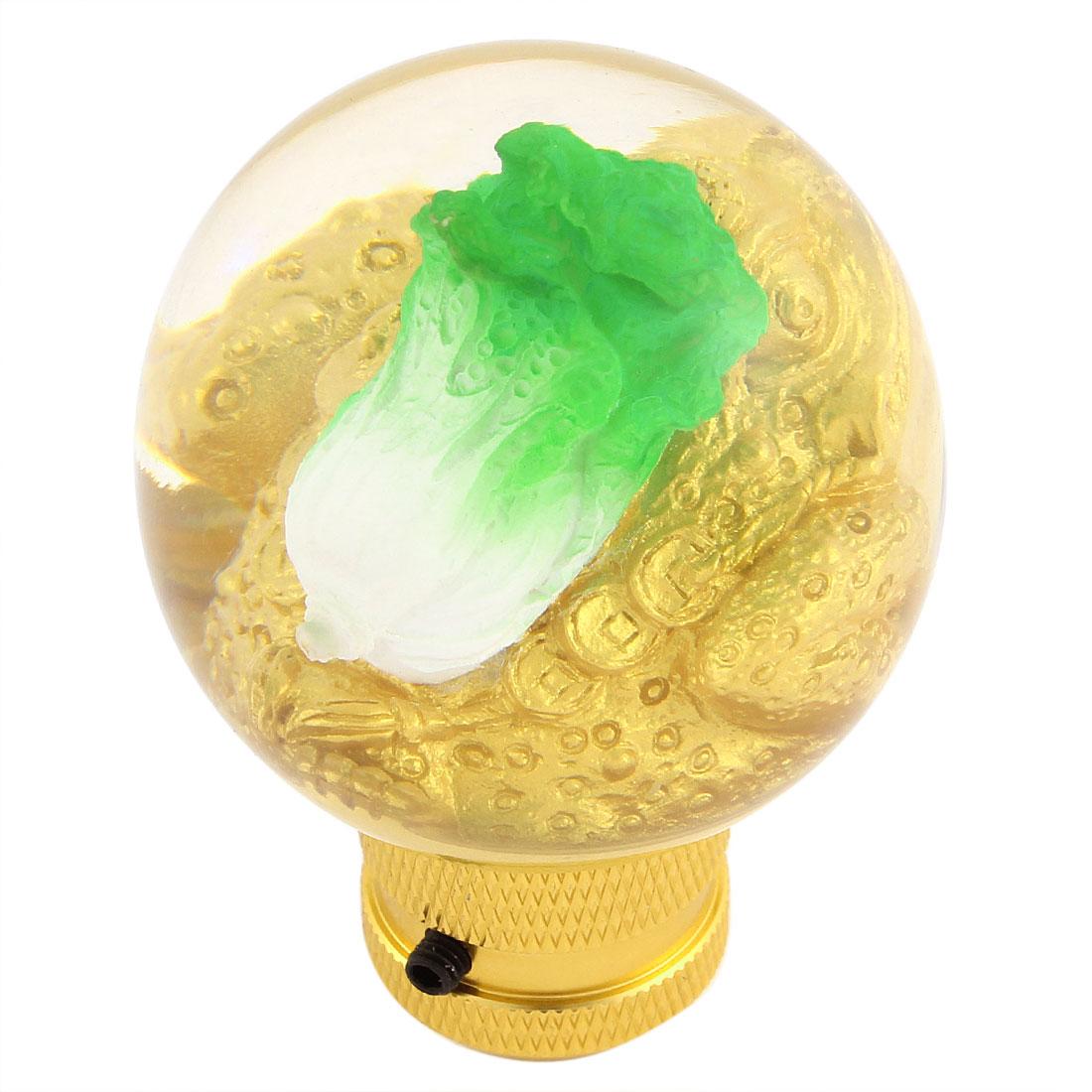 Cabbage Design Auto Car Gear Stick Shift Knob Shifter Protector Gold Tone Green