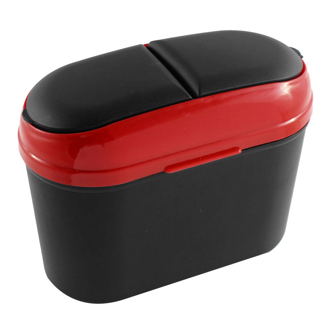 Car SUV Trash Rubbish Can Garbage Dust Dustbin Box Case Holder Bin Hook Black Red