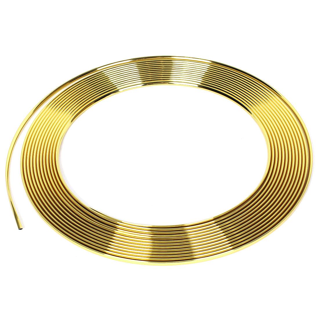 Car Decoration 15M x 6mm Gold Tone Plastic Moulding Trim Strip Adhesive Tape