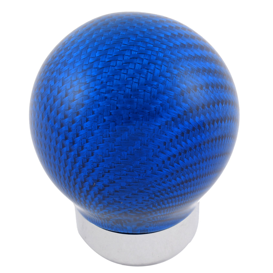 Blue Carbon Fiber Round Ball Car Manual Gear Shift Shifter Knob w Adapters