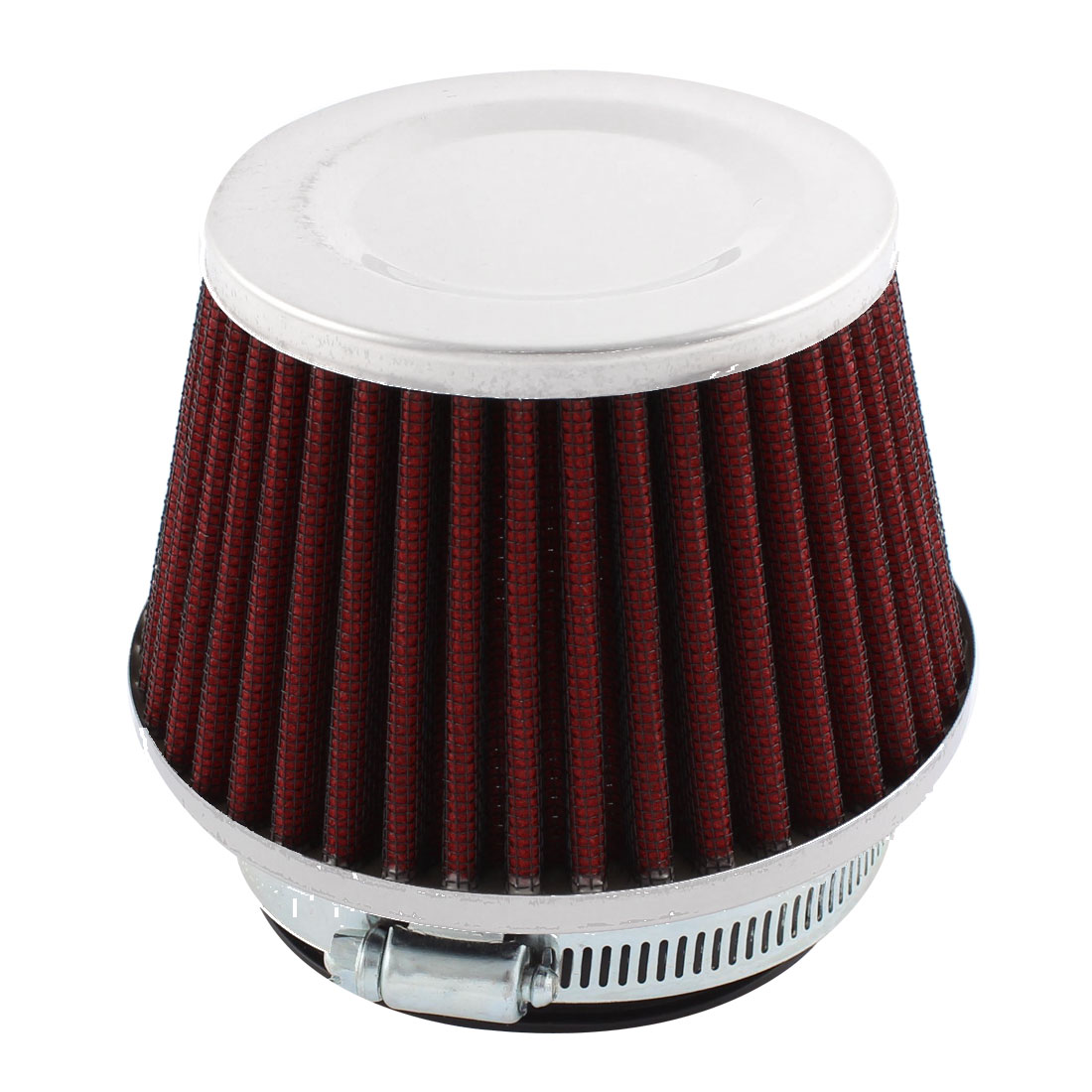 "3"" Inlet Flow Air Intake Dry Cone Red Rubber Filter + Clamp"