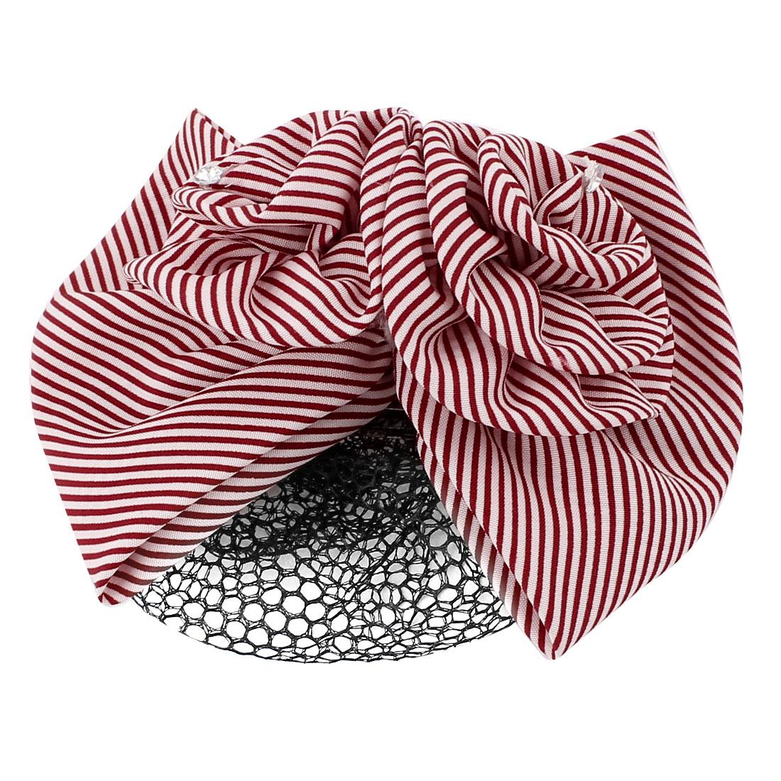 Women Bowknot Flower Decor Striped Bun Barrette Snood Net Hairclip Red White