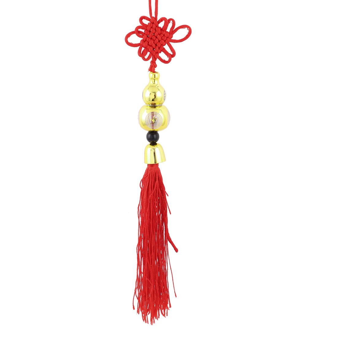 Tassel Detail Calabash Pendant Handmade Chinese Knot Hanging Decor Red Gold Tone