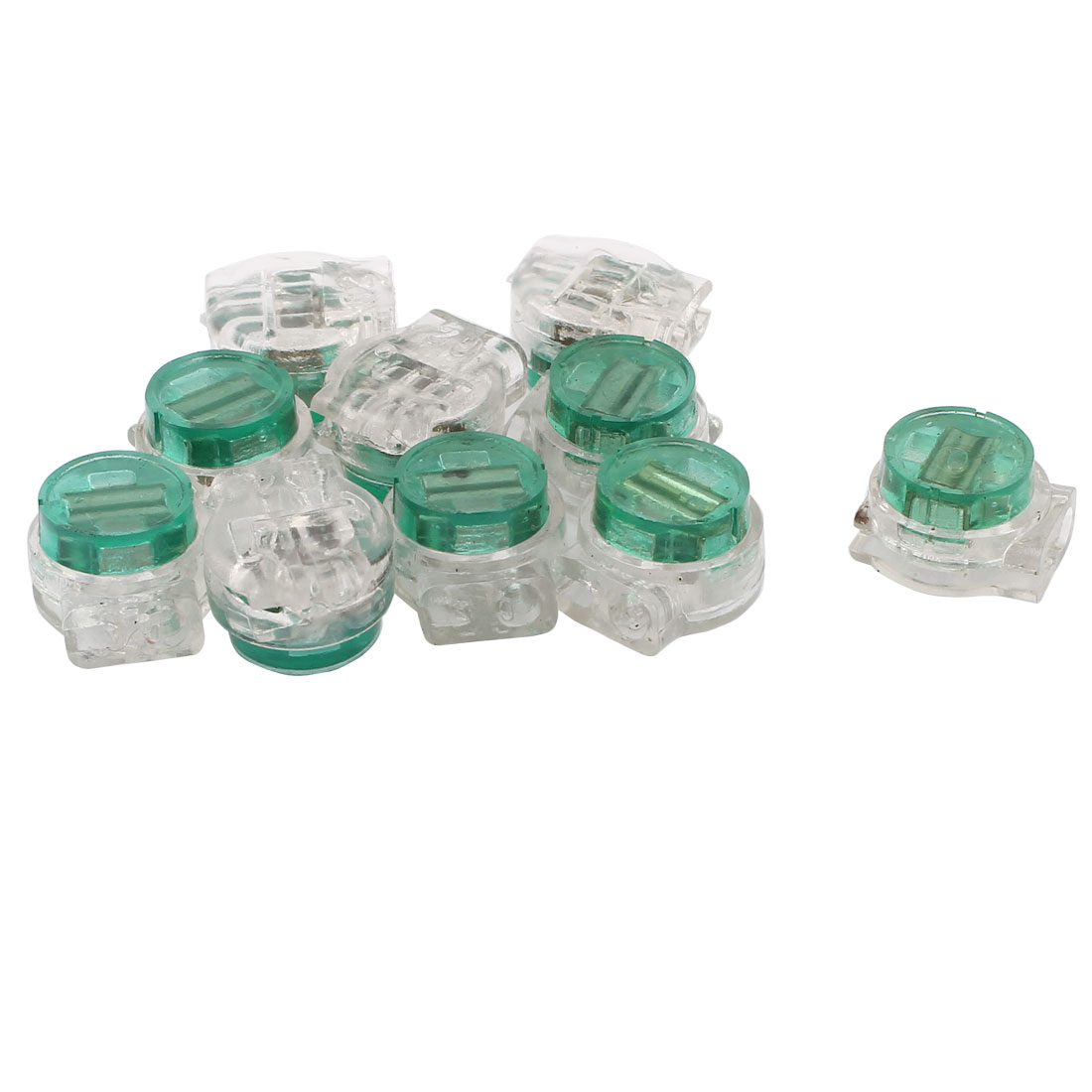 10Pcs K5 11.67mm OD 2 Ports Green Gel Splice UY Wire Connector