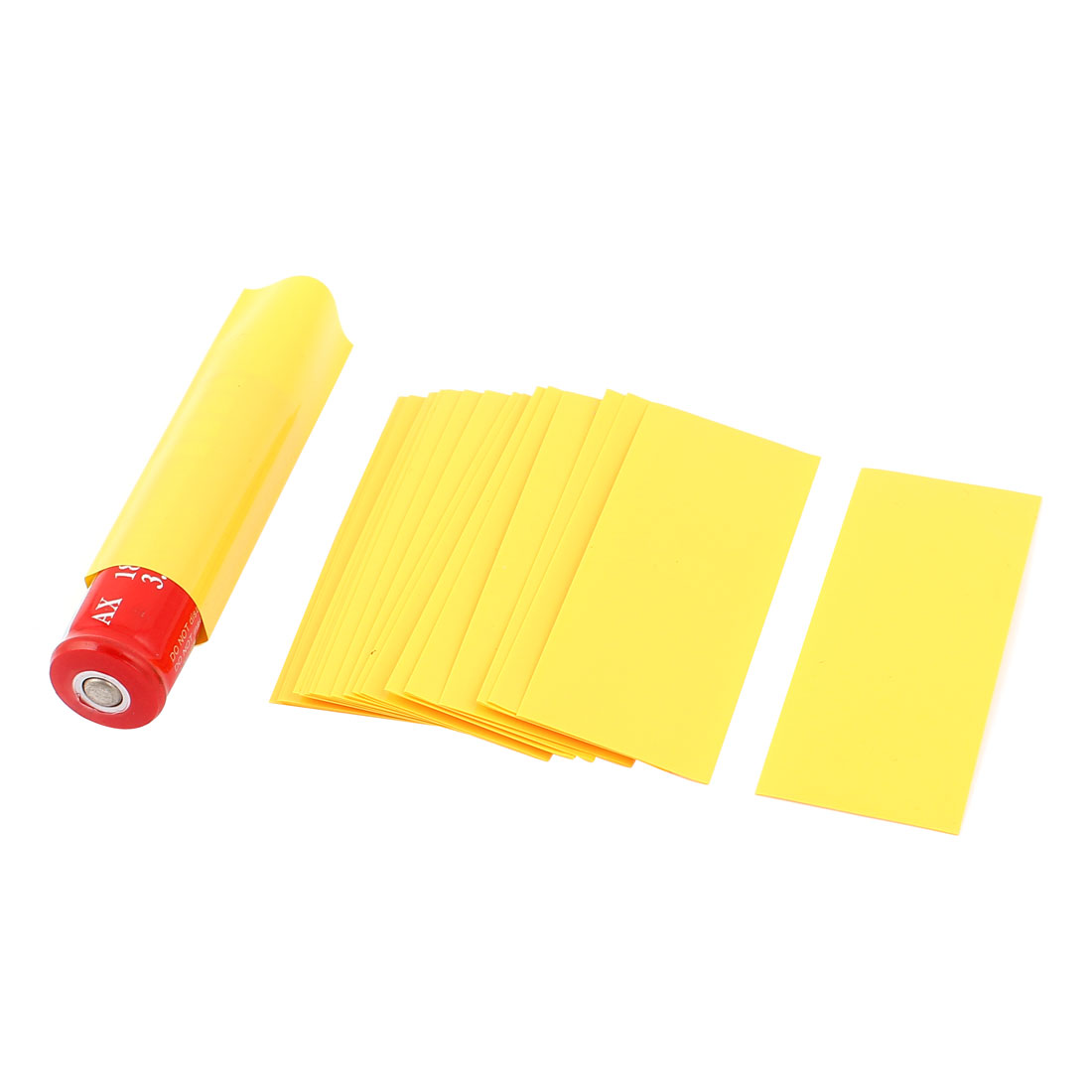 20pcs 18.5mm Dia PVC Heat Shrink Tubing Yellow for 1 x 18650 Battery