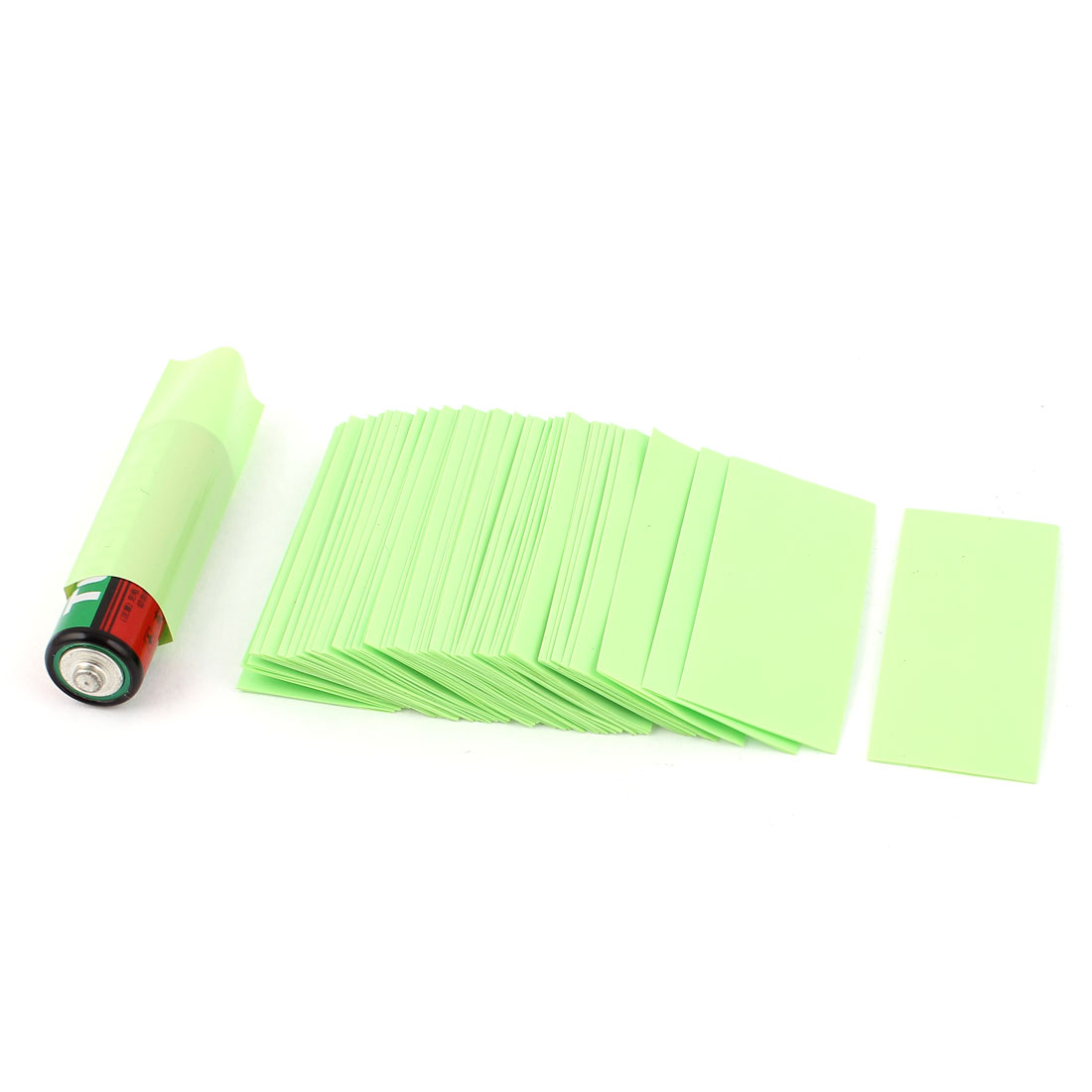 50pcs 23mm 14.5mm Dia PVC Heat Shrink Tubing Yellow Green for 1 x 1.5V AA Battery