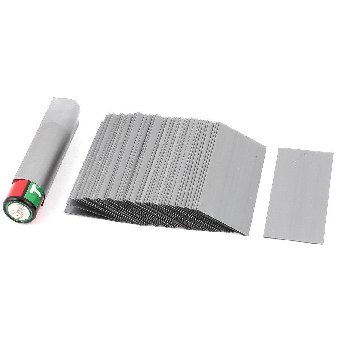 50pcs 23mm Flat 14.5mm Dia PVC Heat Shrink Tubing Gray for 1 x 1.5V AA Battery