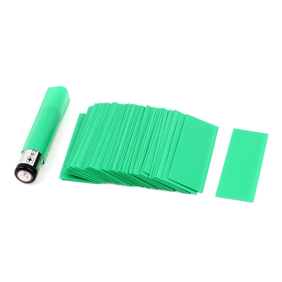 50pcs 17mm Flat 10.8mm Dia PVC Heat Shrink Tubing Green for 1 x AAA Battery