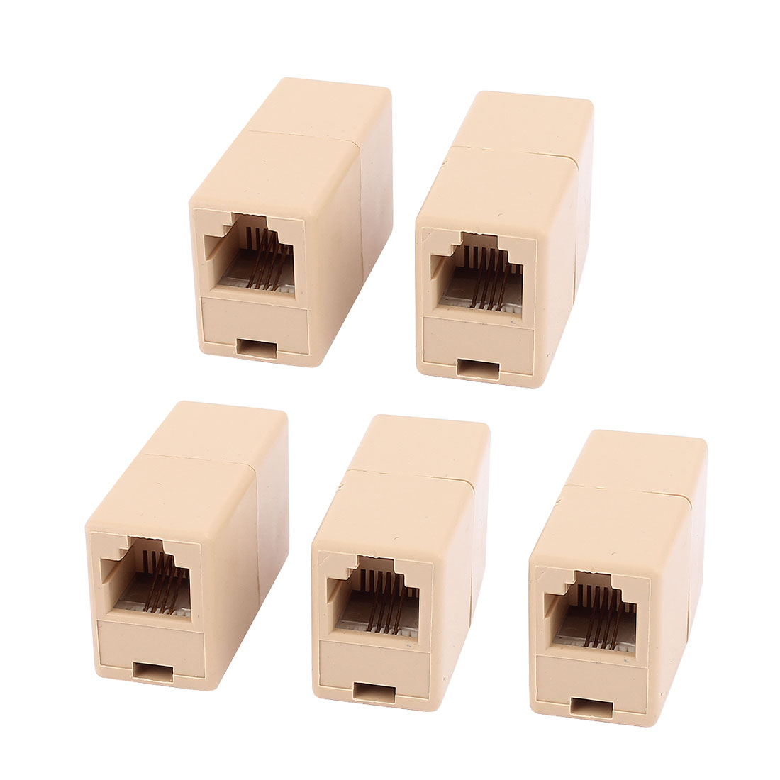 5Pcs Plastic RJ11 6P4C Female to Female Telephone Line Connector Coupler Beige