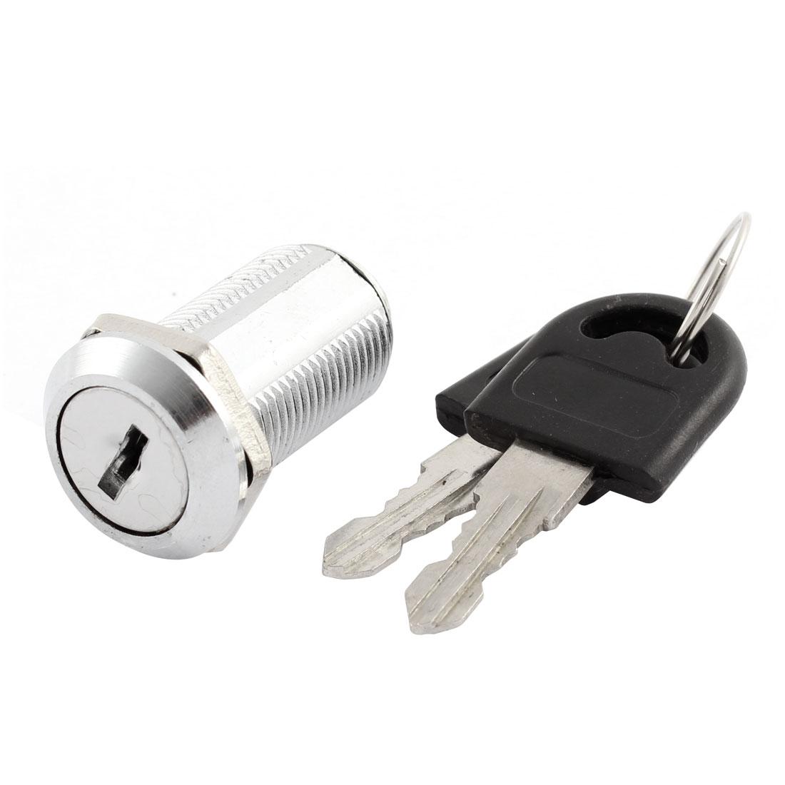 Furniture Showcase Drawer Cabinet 13mm Thread Dia Metal Safety Cam Lock w Keys