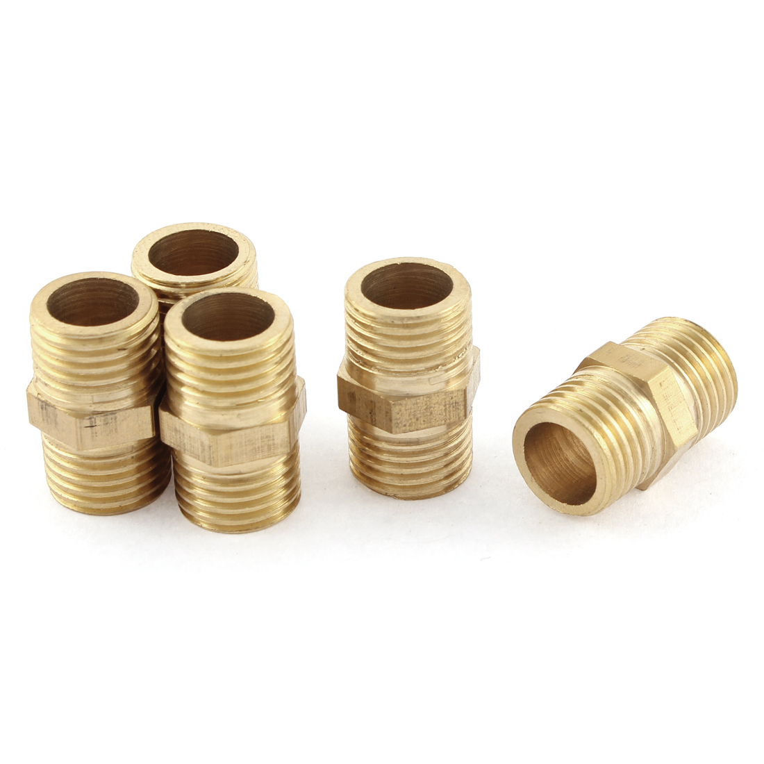 5 Pcs 1/4 BSP to 1/4 BSP Male Thread Brass Pipe Hex Nipple Fitting Quick Adapter