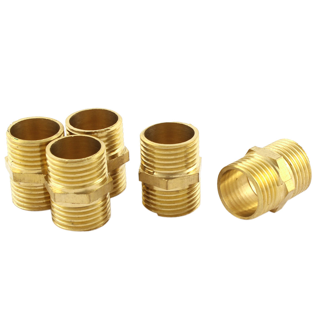 5 Pcs 1/2 BSP Male to Male Thread Equal Fitting Brass Hex Reducer Nipple Quick Connector