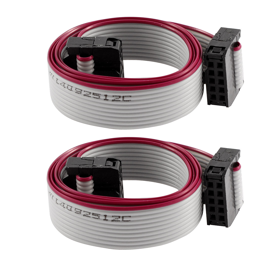 2 Pcs FC10P IDC 10-Pin F/F Hard Drive Data Extension Wire Flat Ribbon Cable Connector 50cm Long for Motherboard