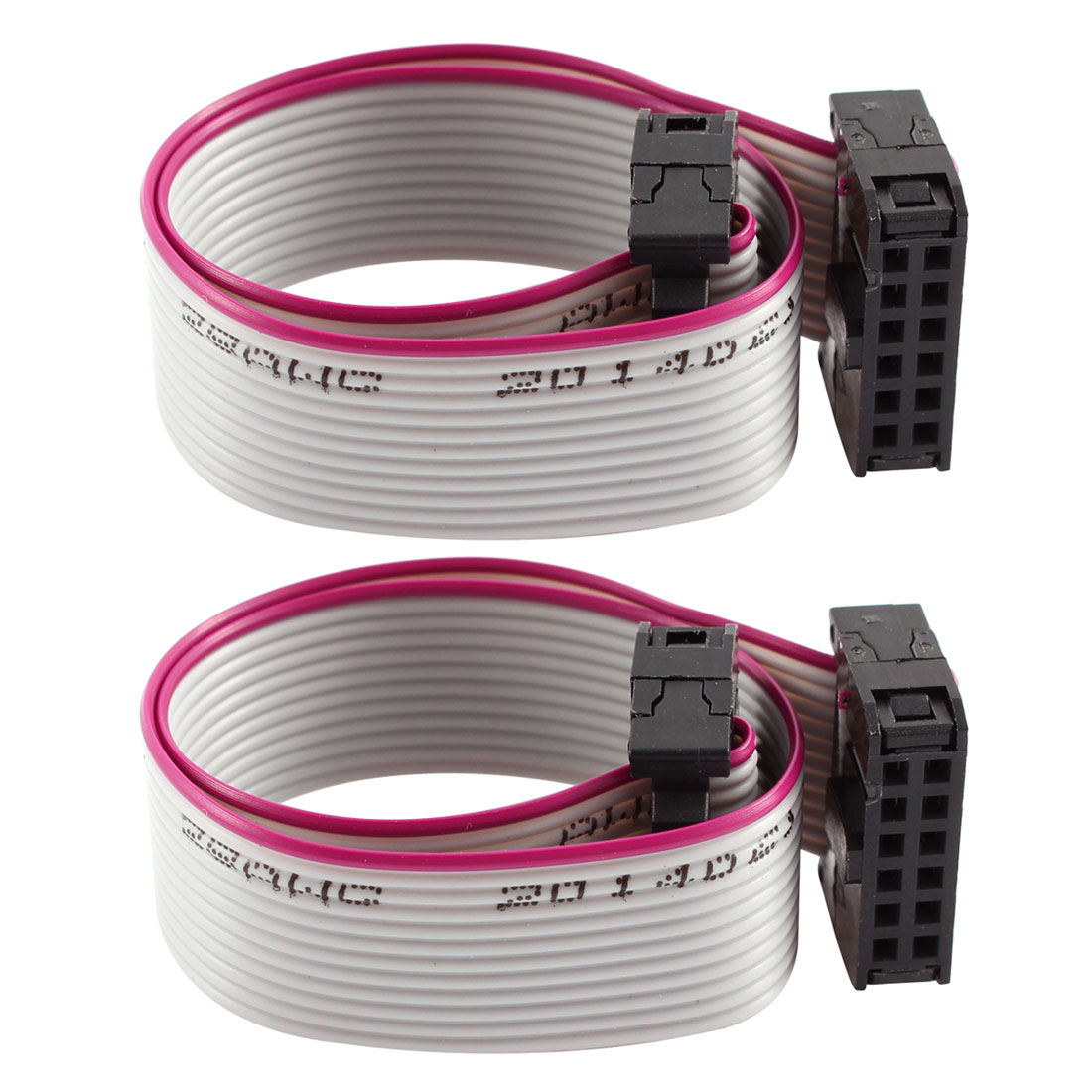2 Pcs FC-12P IDC 12P F/F Hard Drive Data Extension Wire Flat Ribbon Cable Connector 20cm Long for Motherboard