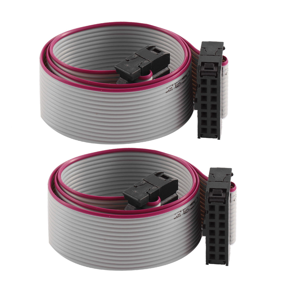 2 Pcs FC-14P IDC 14-Pin F/F Hard Drive Data Extension Wire Flat Ribbon Cable Connector 30cm Long for Motherboard