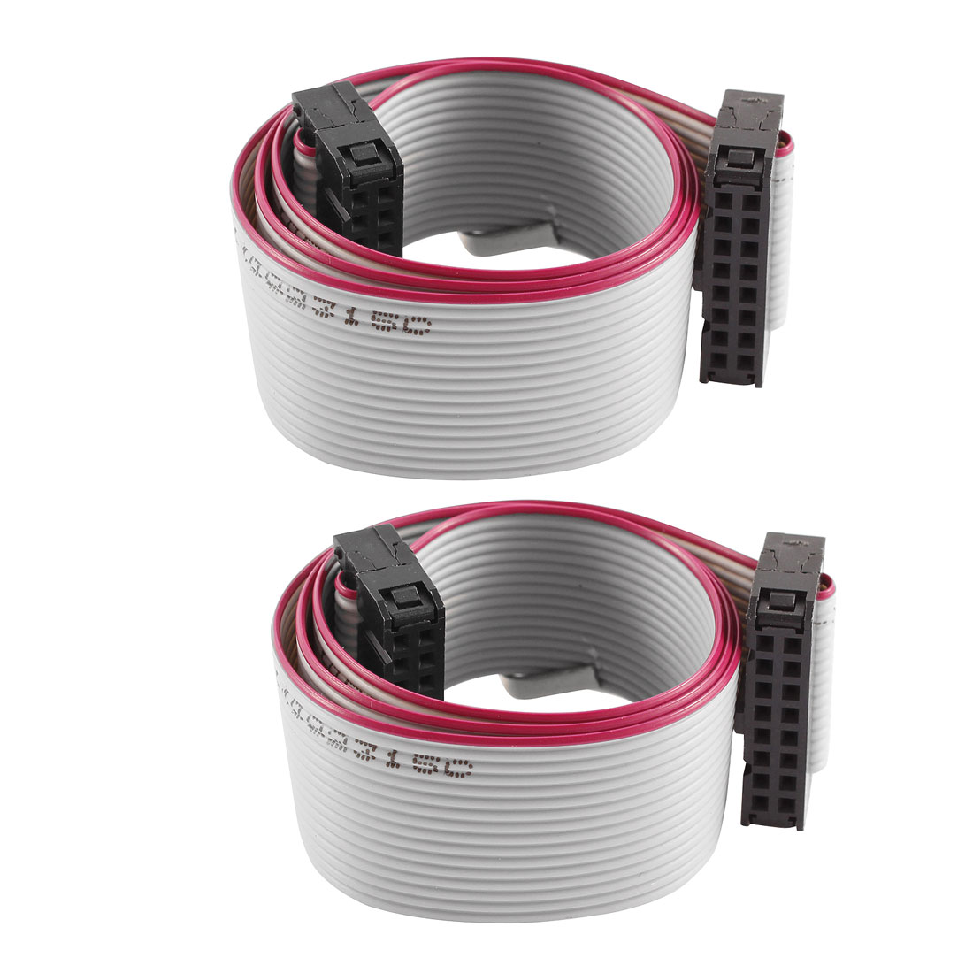 2 Pcs FC-16P IDC 16-Pin F/F Hard Drive Data Extension Wire Flat Ribbon Cable Connector 40cm Long for Motherboard