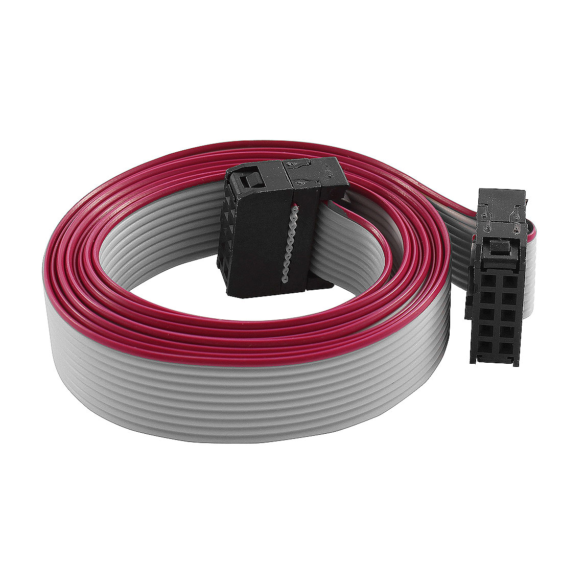FC10P IDC 10-Pin F/F Hard Drive Data Extension Wire Flat Ribbon Cable Connector 100cm Long for Motherboard