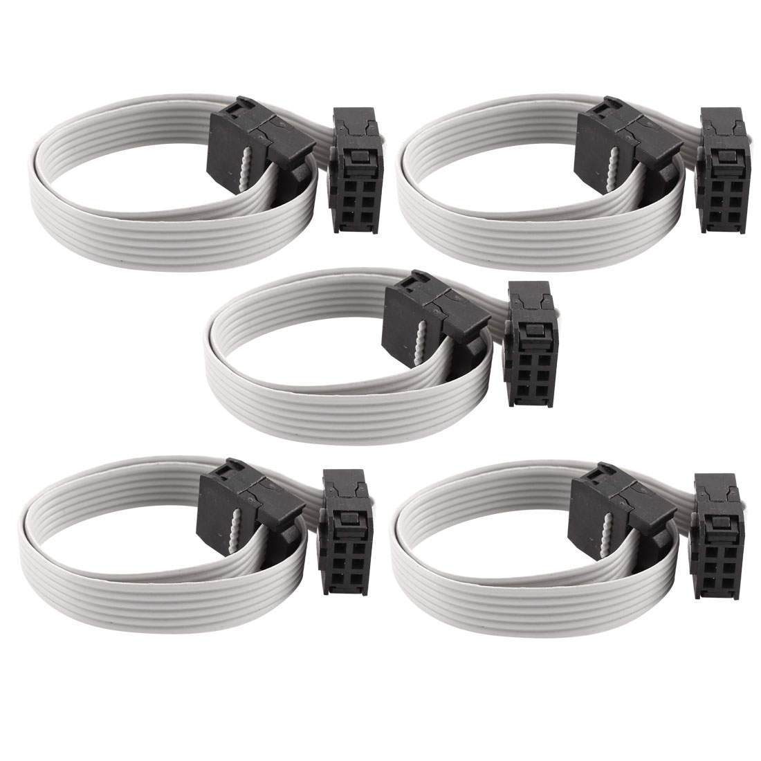 5 Pcs FC-6P IDC 6-Pin F/F Hard Drive Data Extension Wire Flat Ribbon Cable Connector 20cm Long for Motherboard