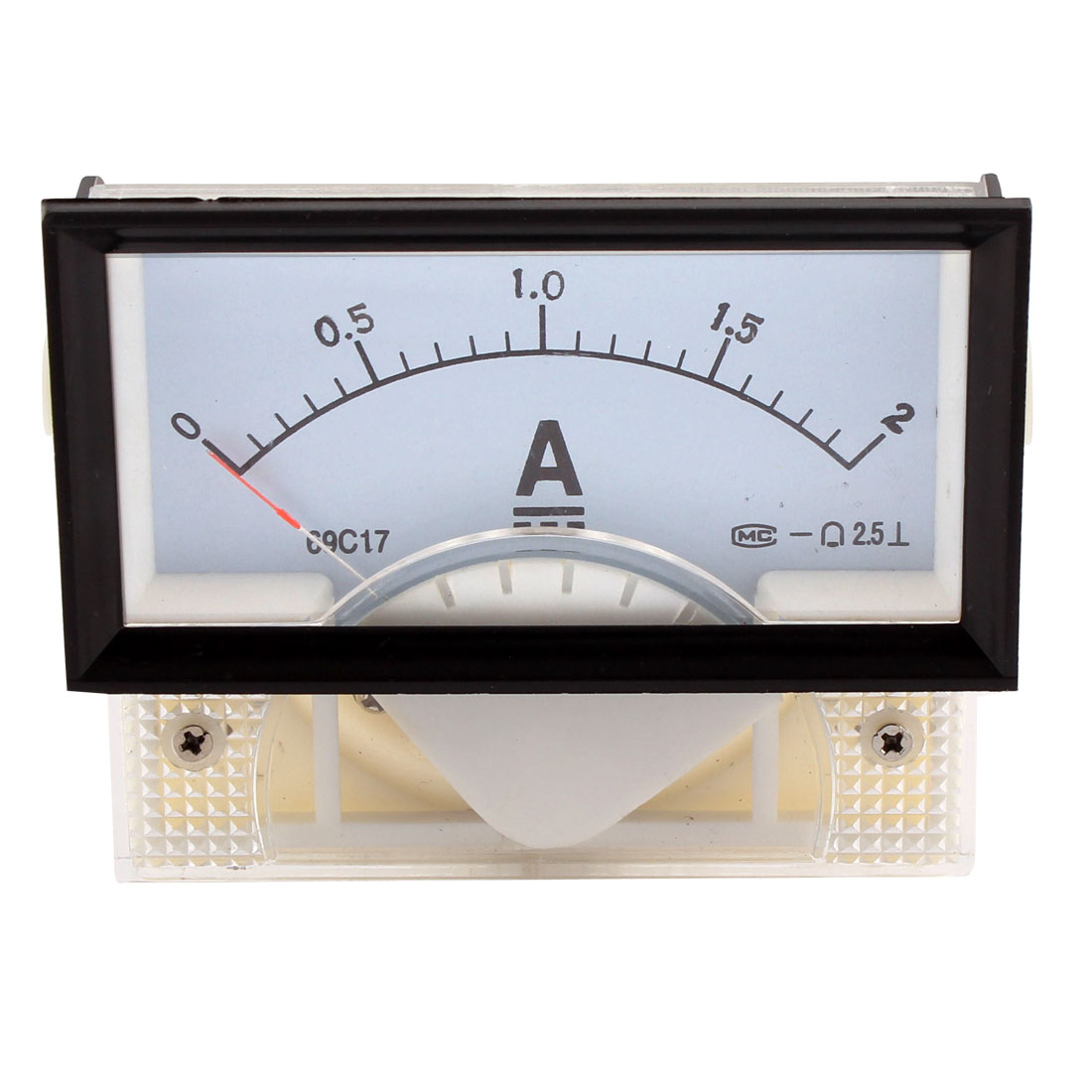 69C17 DC 0-2A Rectangle Panel Gauge Meter Analog Ampere Ammeter Class 2.5