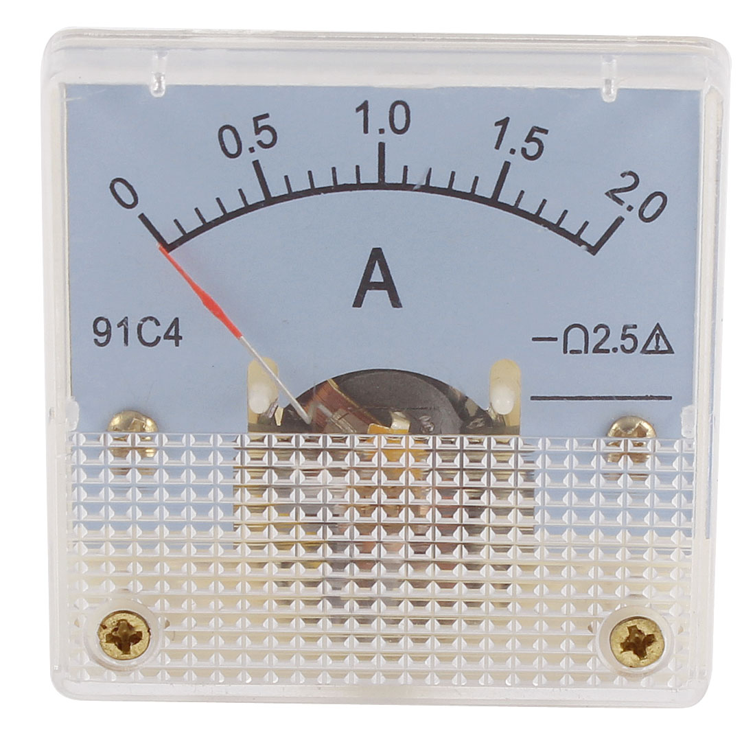 91C4 DC 0-2A Rectangle Mini Analog Panel Ammeter Gauge Amperemeter Class 2.5