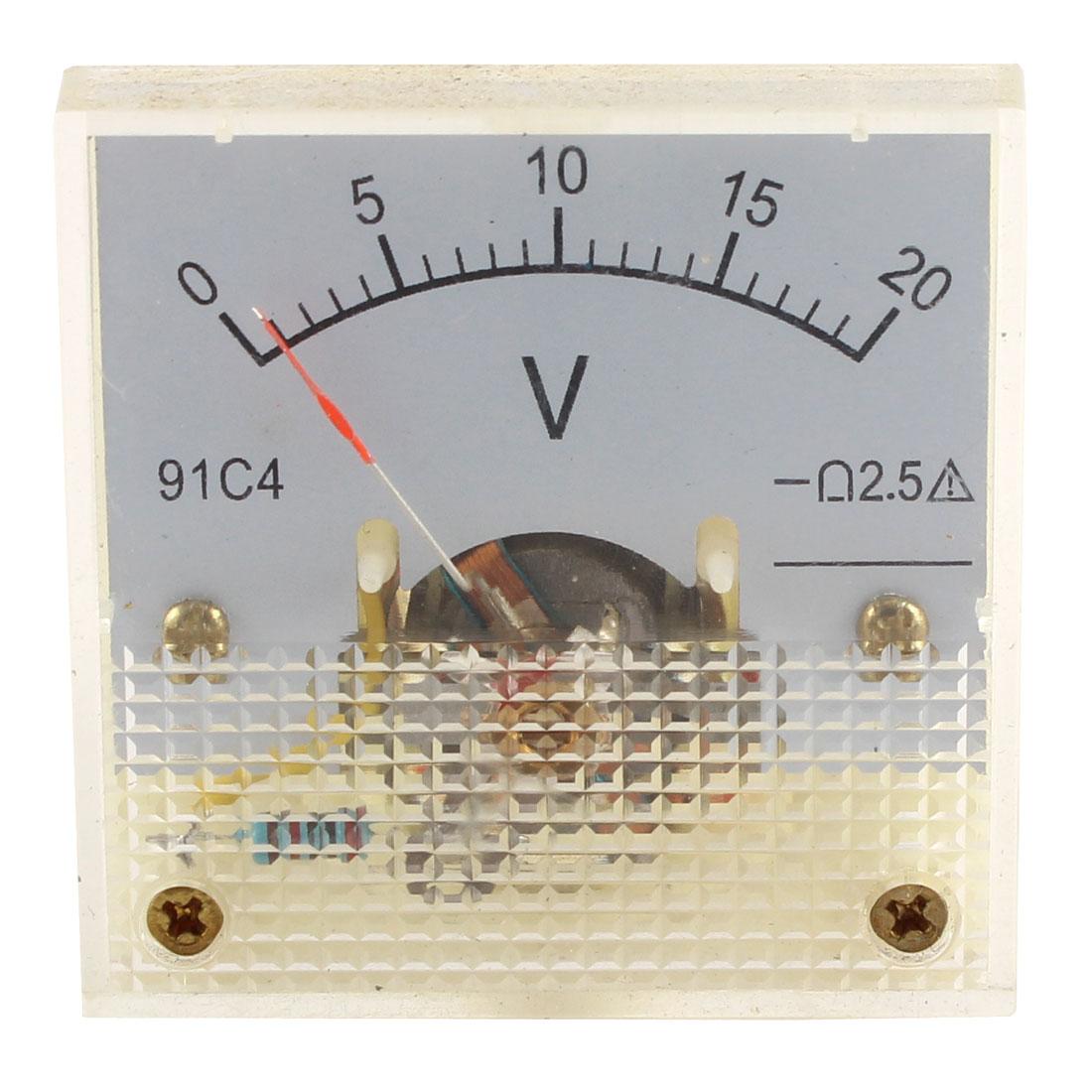 91C4 DC 0-20V Analog Panel Voltmeter Voltage Meter Measuring Gauge Class 2.5